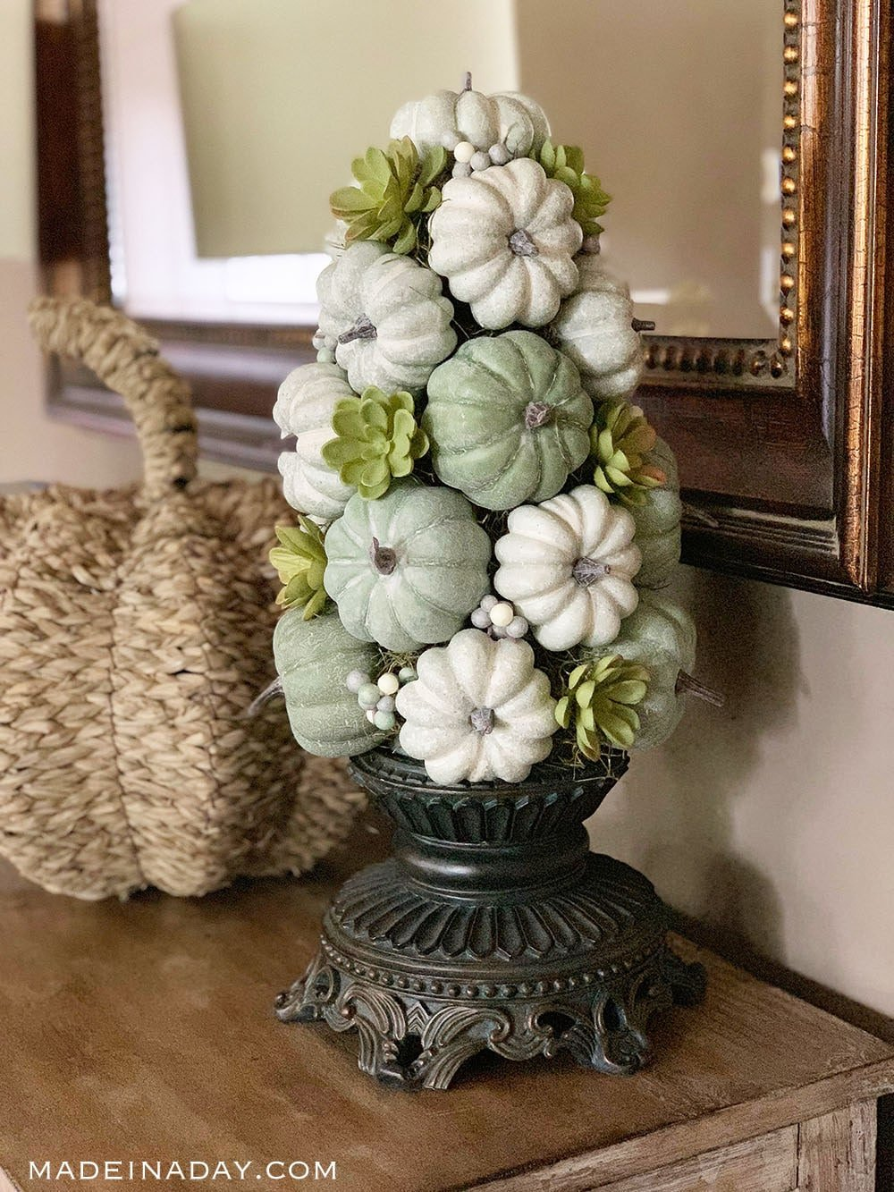 DIY green fall pumpkin topiary