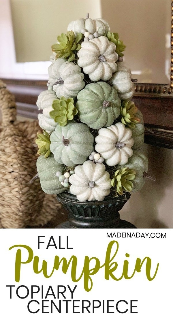 Fall Green Pumpkin Centerpiece, Farmhouse green pumpkins, pumpkin topiary, green pumpkin topiary, pumpkin centerpiece, pumpkin tablescape, topiary centerpiece, pumpkin tree, faux fruit topiary with pumpkins, succulent topiary, how to make a topiary tree, fall pumpkin arrangement #farmhouse #green #pumpkin #pumpkintopiary #tabelscape #falldecor #falldecorating #DIY #fallarrangement #farmhousepumpkins
