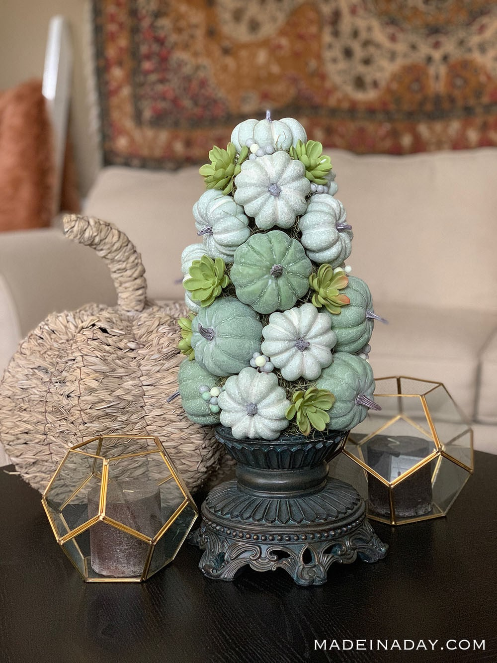 Green pumpkin succulent centerpiece, Fall Topiary Green Pumpkin Cone Tree