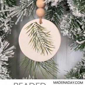 Simple Evergreen Sprig Polymer Clay Ornament 1
