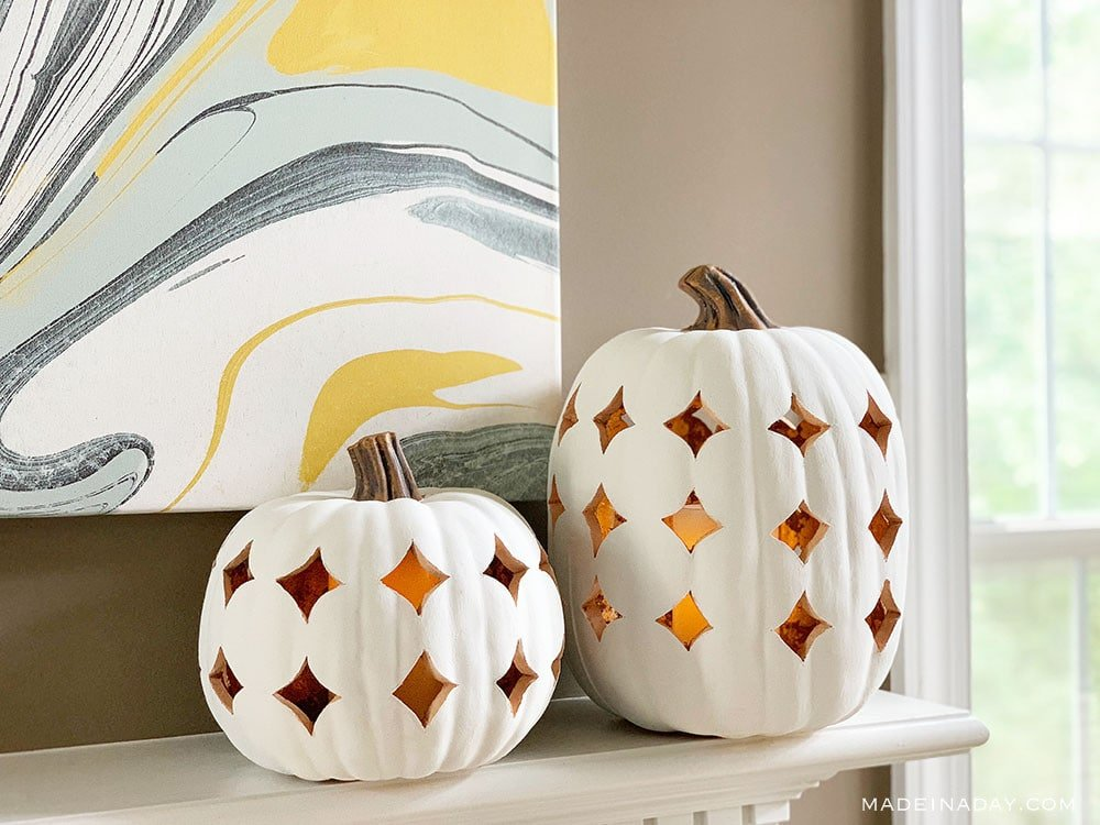 Modern Fall Pumpkin Lanterns, Faux Ceramic Pumpkin Lanterns, whote gold pumpkins, boho pumpkins