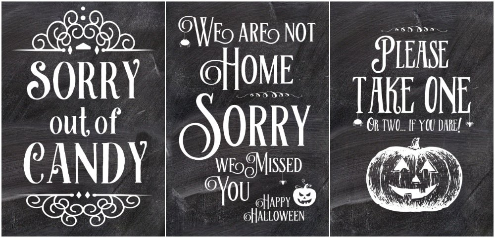 Trick or treat signs for candy bowl, trick or treat sign we are not home sign, Trick or treat take one please sign