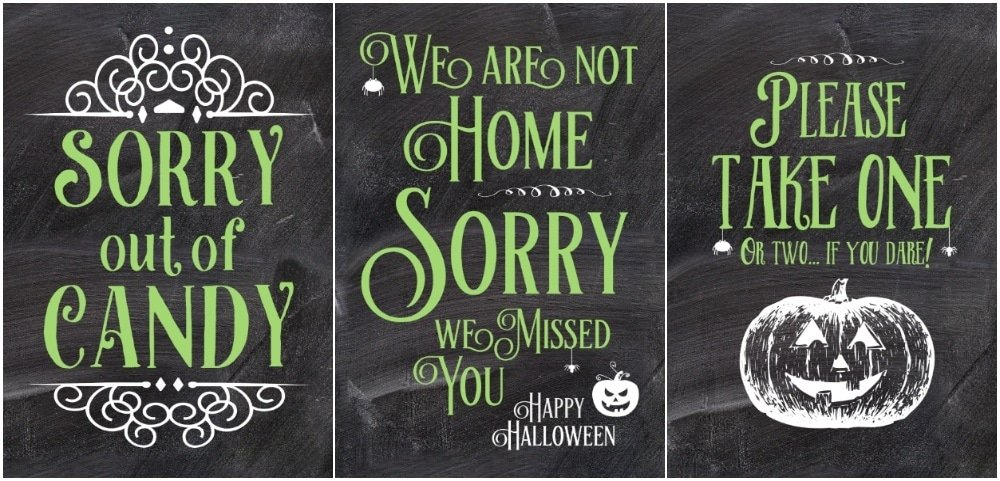 Chalkboard Halloween candy bowl sign, halloween door sign, Halloween out of candy sign,