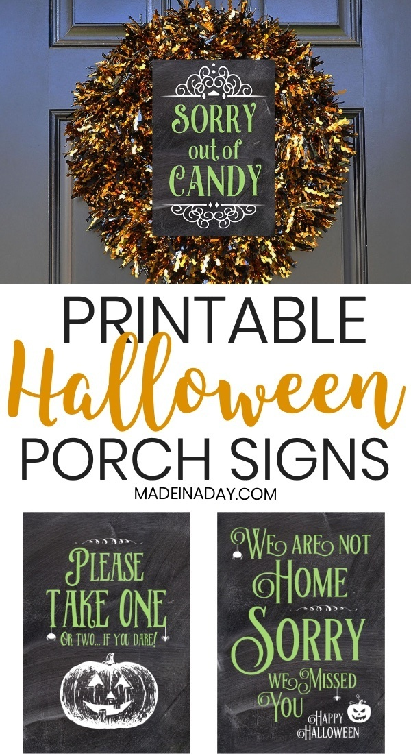 graphic about Halloween Signs Printable called Halloween Porch Signs and symptoms: Out of Sweet Not Dwelling Just take One particular
