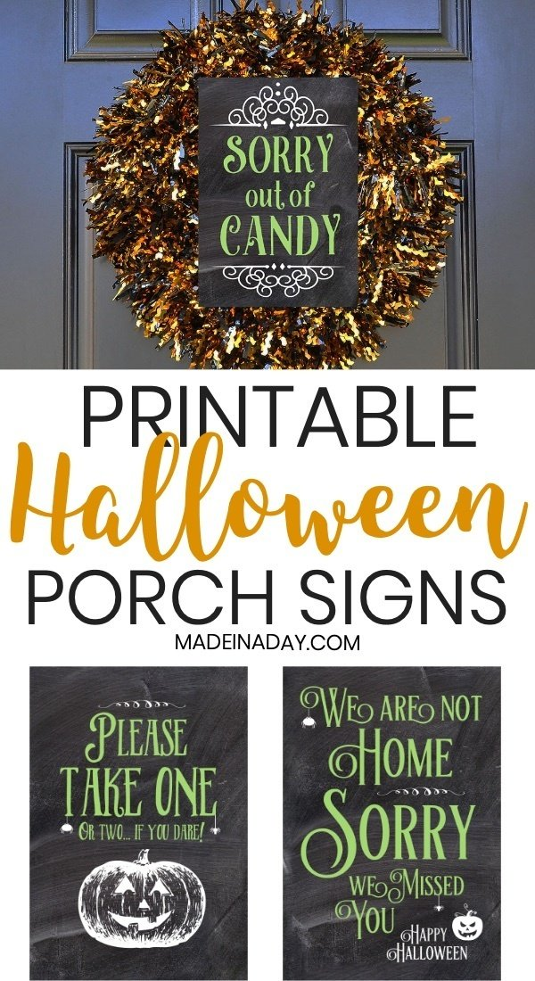 Printable Halloween Porch Signs: Out of Candy, We are Not Home, Take One if you Dare, printable Halloween signs, what to do when you are not home on Halloween, Printable out of candy sign, Printable take one please sign, #Halloween #halloweencandy #halloweensign #halloweendecor #halloweenprintable #halloweendecorations #printable #printablesign