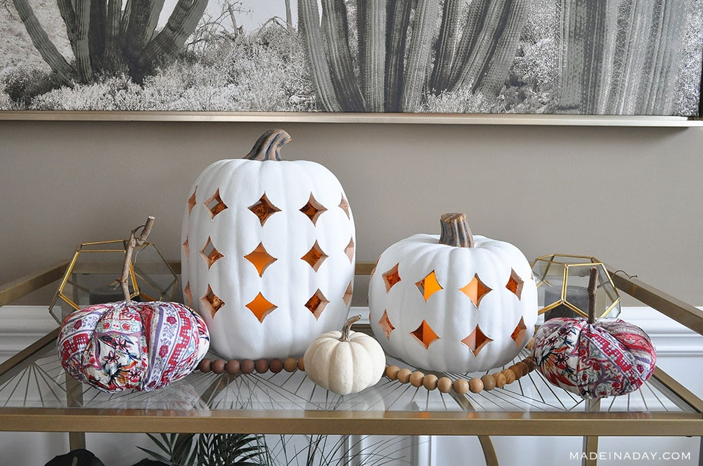 boho fall Pumpkin Luminaries, White Fall Pumpkin Lanterns,