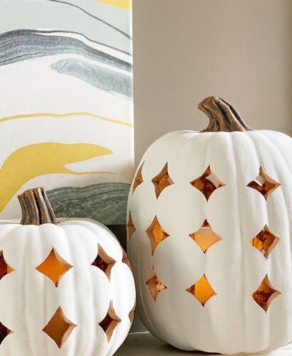 Stunning Shimmering Boho Pumpkin Luminaries 11