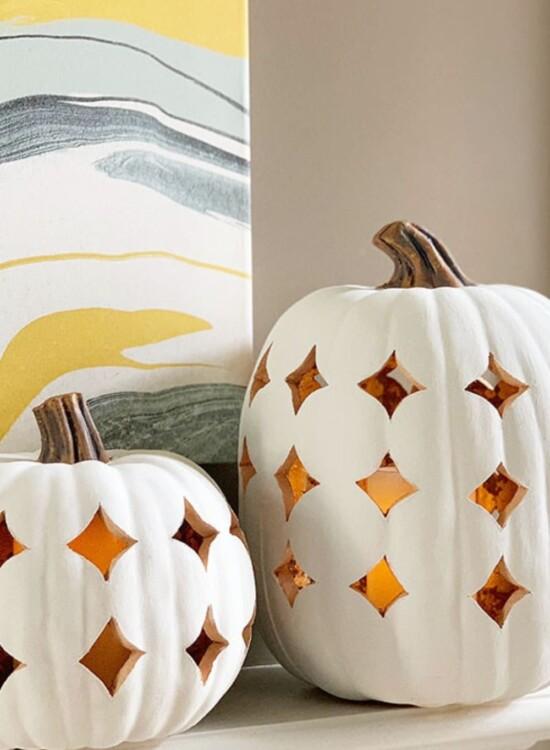 Stunning Shimmering Boho Pumpkin Luminaries 9