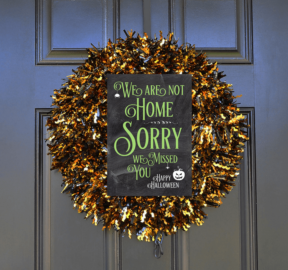 Trick or treater sorry we are not home, Sorry we missed you Halloween sign, printable halloween sign