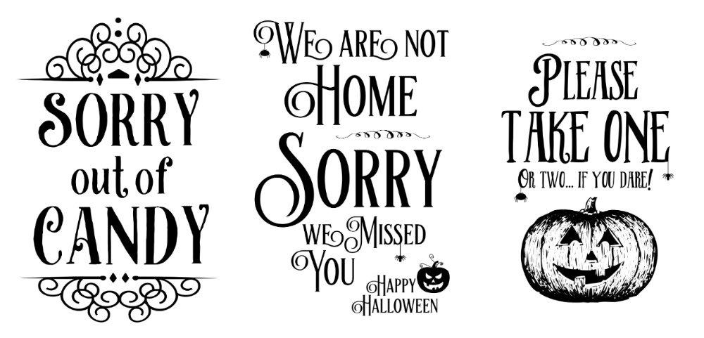 FREE Halloween Out of Candy Sign, Sorry We missed you Halloween door hanger, Please take one candy bowl sign