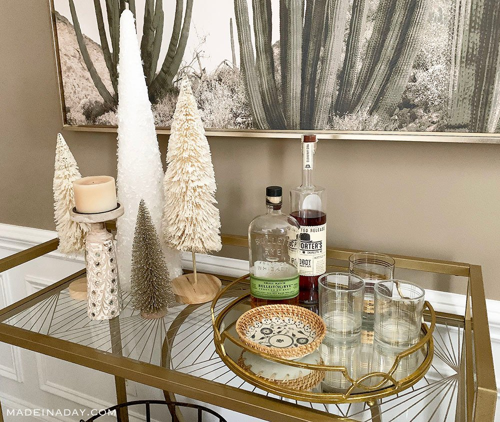 Gold and Natural Holiday Bar Cart Styling, Boho Bar Cart, Gold and Natural Bar Cart