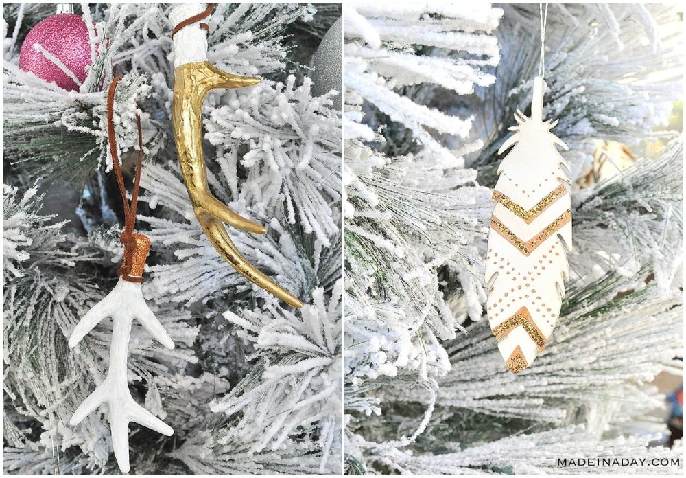 painted feather ornaments, gold antler ornaments, boho ornaments, rustic ornament