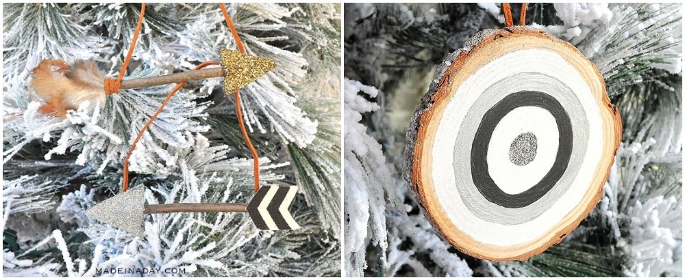 rustic arrow ornament, frosted bullseye ornament, boho tree ornaments