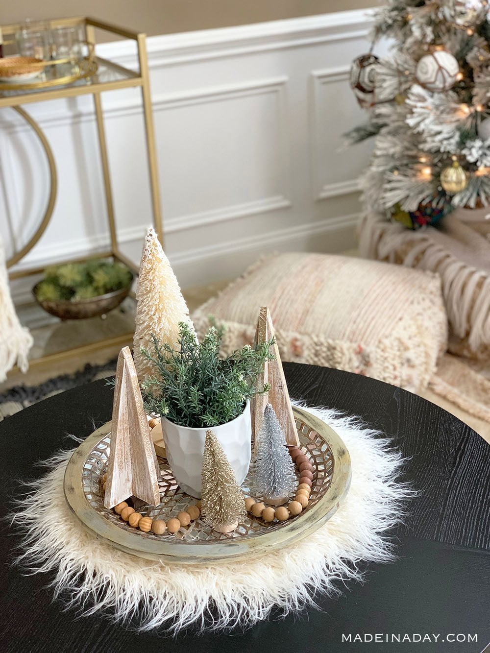 Fur Pelt, Wood and Bottle Brush Tree Natural Christmas Centerpiece