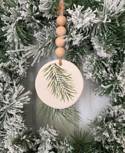 Simple Evergreen Sprig Polymer Clay Ornament 32