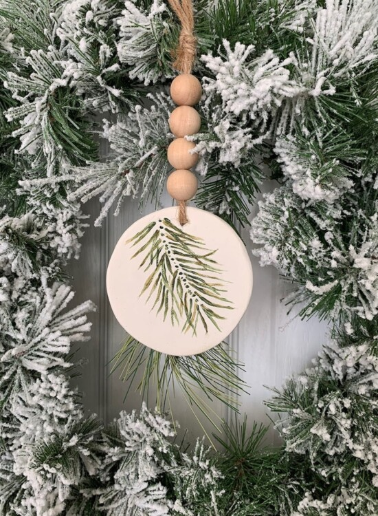 Simple Evergreen Sprig Polymer Clay Ornament 8