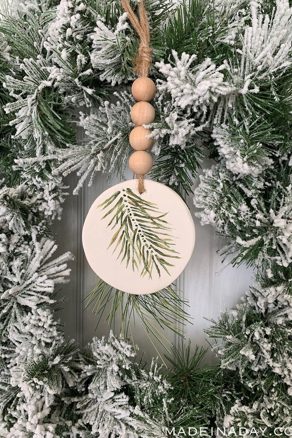 Simple Evergreen Sprig Polymer Clay Ornament