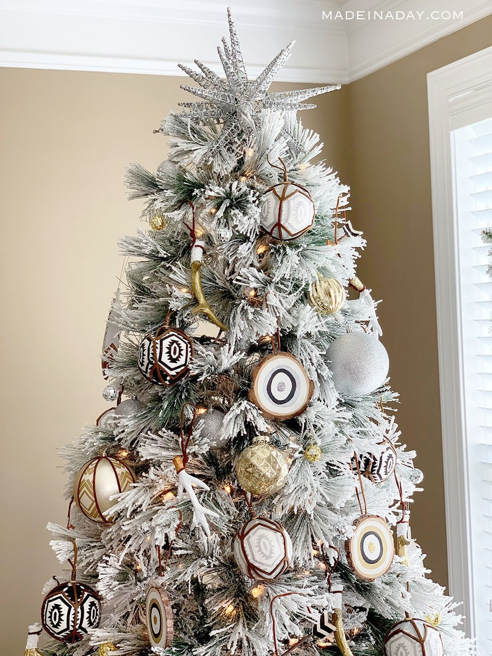Flocked Boho Christmas Tree, DIY Handmade Boho Tree Ornaments, White, Gold Blush Christmas Tree
