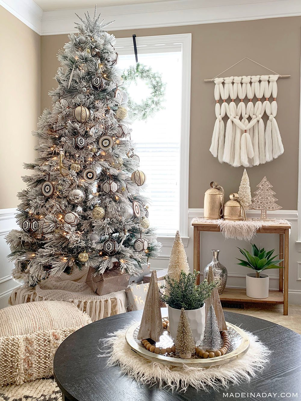 Rustic Bohemian Style Christmas Tree and Decor, boho flocked tree, global flocked tree