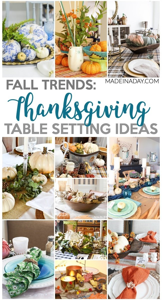 Thanksgiving Tablescape Ideas for the Perfect Holiday, Pumpkins, plaid and blue! Lots of holiday inspiration for the perfect table! #plaid #thanksgiving #pumpkin #tabelscapes #holiday #turkeyday #whitepumpkins #fall #falldecor