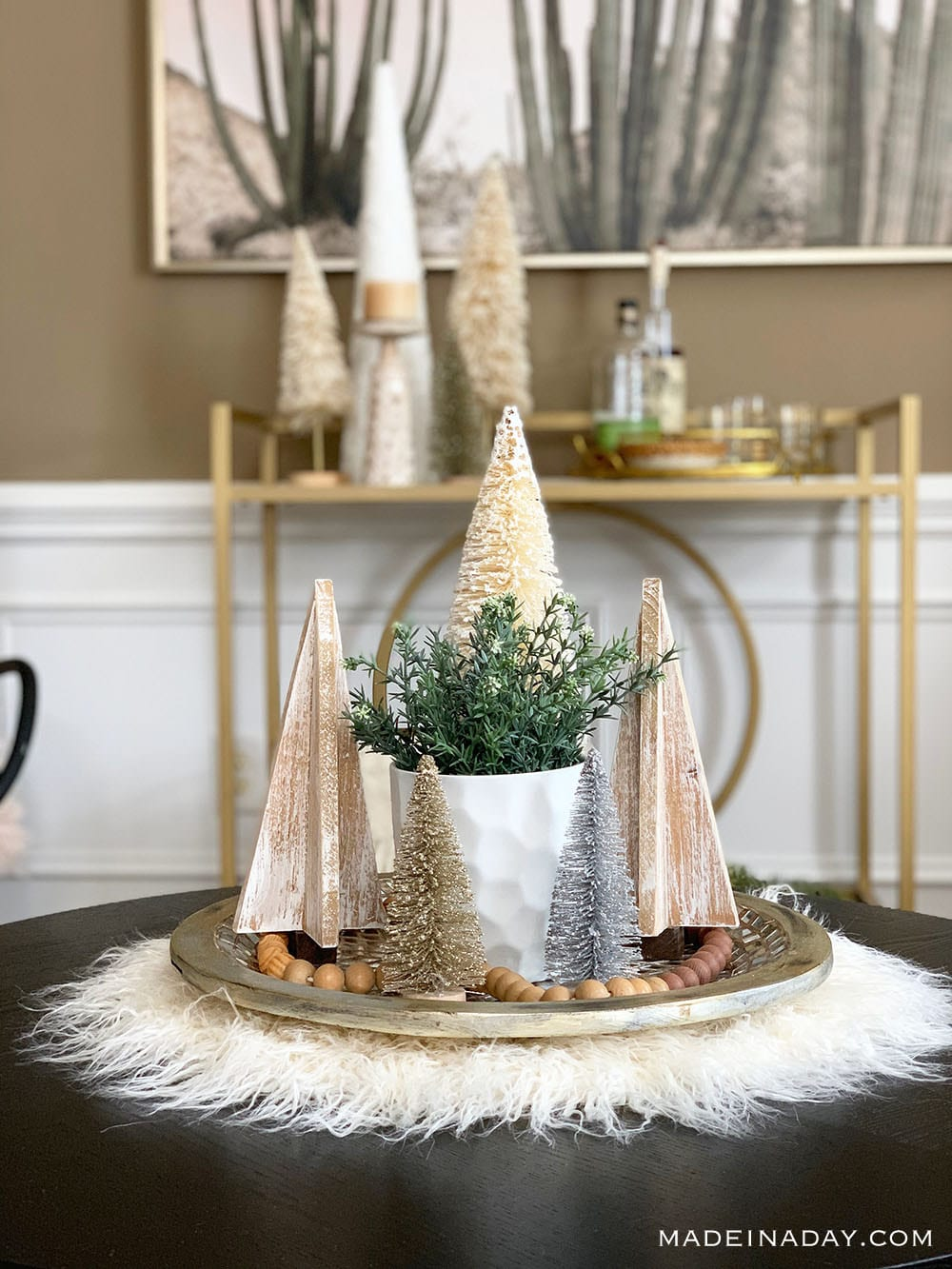 Mongolian Fur Pelt Holiday Centerpiece, White fur wood trees centerpiece, bottle brush centerpiece