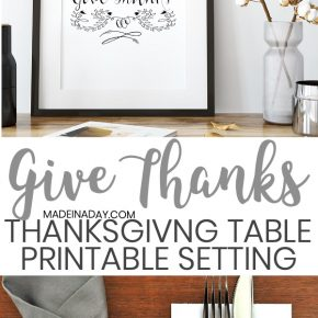 """Give Thanks"" Printable Thanksgiving Table Setting 1"
