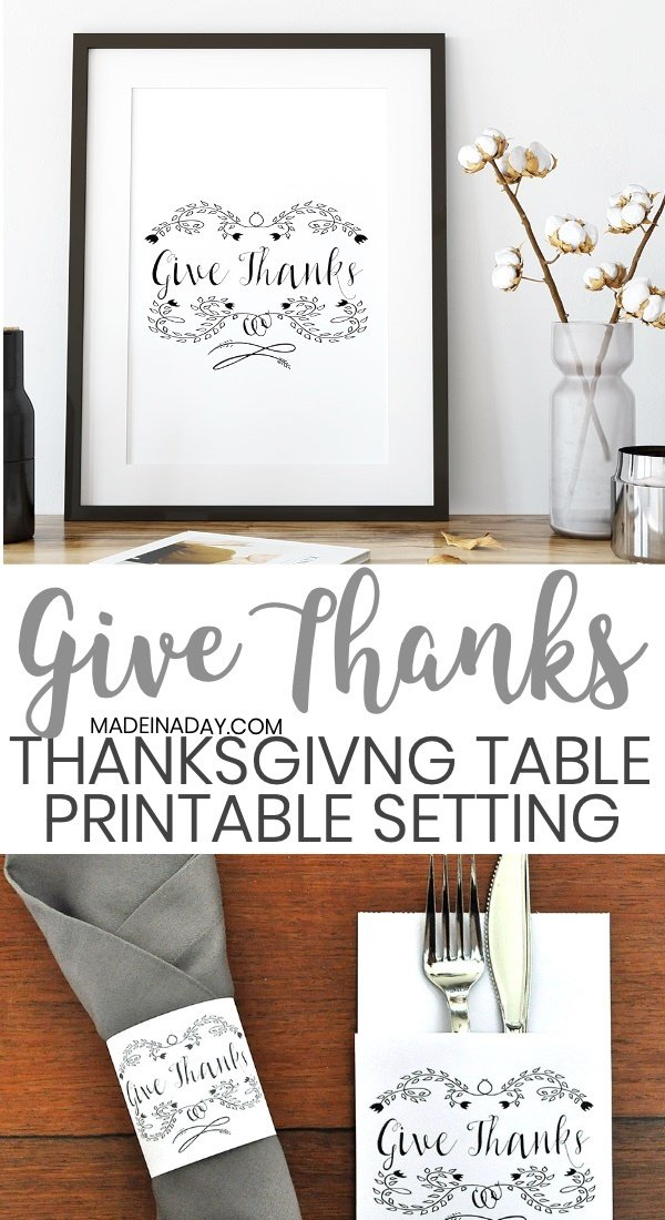 """Give Thanks"" Printable Thanksgiving Table Setting, Thanksgiving utensil printables, Thanksgiving printable decorations, Thanksgiving Give Thanks printable, Gratitude Printable, free Thanksgiving printables, free printable thanksgiving utensil holder, Thanksgiving table, Thanksgiving napkin holder printable, paper utensil holder, #thanksgivingtabelscape #thanksgivingprintables #thanksgivingtable #givethanks #wallart #gratitudeprintable #gratitude #thanks #printable"