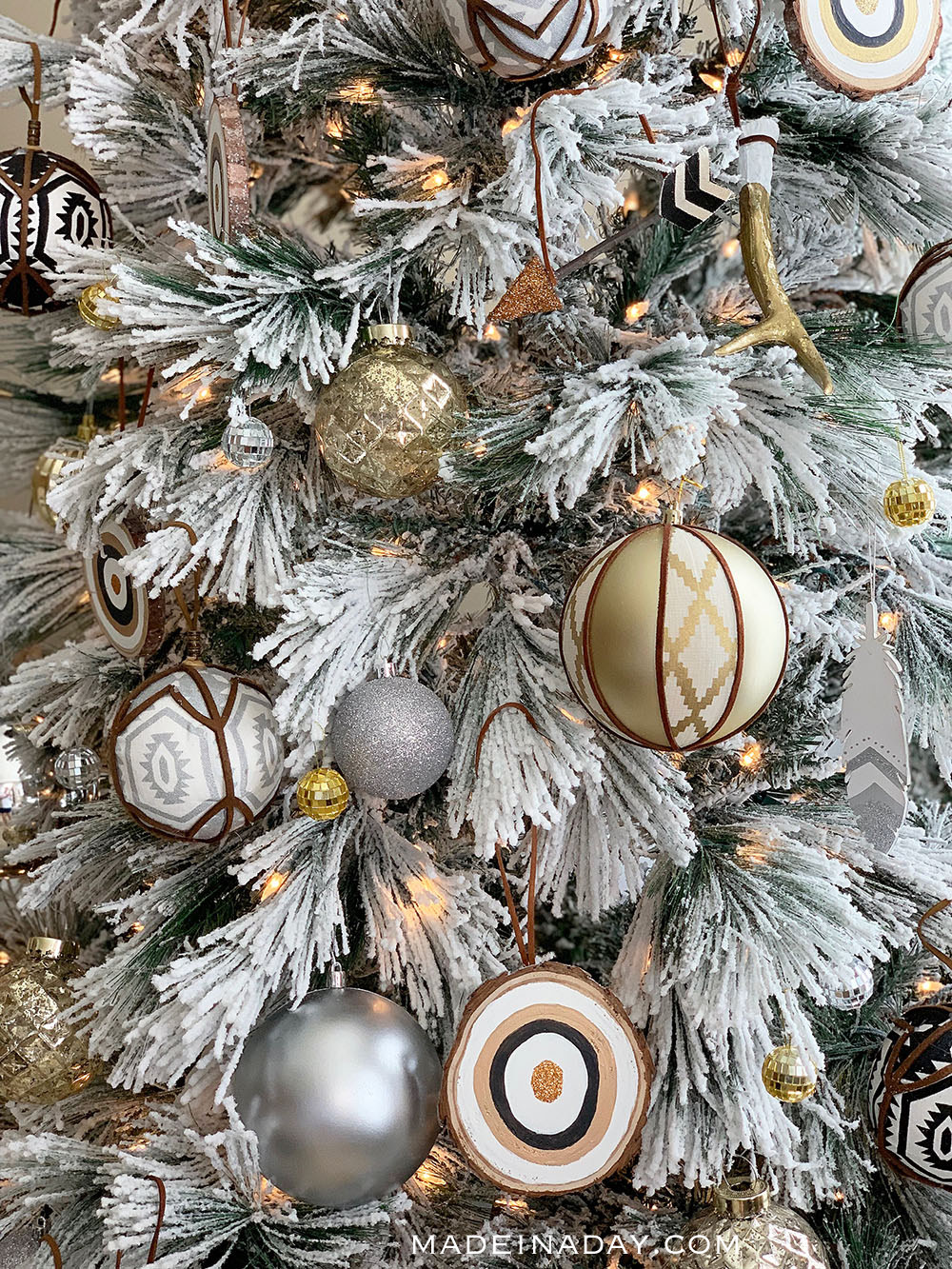 gold silver peach ornaments, boho flocked tree, tribal flocked tree, global inspired flocked Christmas tree