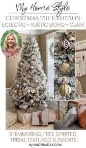 Snowy Eclectic Bohemian Style Christmas Tree 1