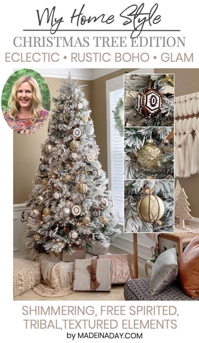 My Home Style: Eclectic Bohemian Style Rustic Christmas Tree, shimmering free spirited, tribal, textured elements, boho Christmas tree, boho holiday tree, rustic bohemian Christmas tree, eclectic Christmas tree, flocked bohemian Christmas tree, rustic Christmas tree, modern boho Christmas tree, Boho Glam Christmas tree, rustic boho Christmas tree, leather ornaments, feather ornaments, tribal Christmas tree, tribal ornaments, #tribal #Christmastree #Holidaytree #boho #bohoChristmas #rusticboho
