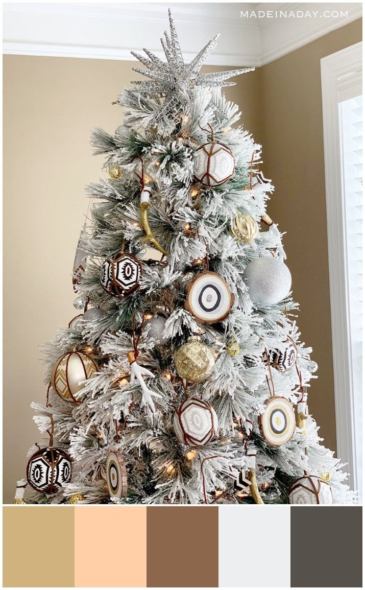 Eclectic Rustic boho Christmas tree color neutral palette, color palette for neutral Christmas tree.