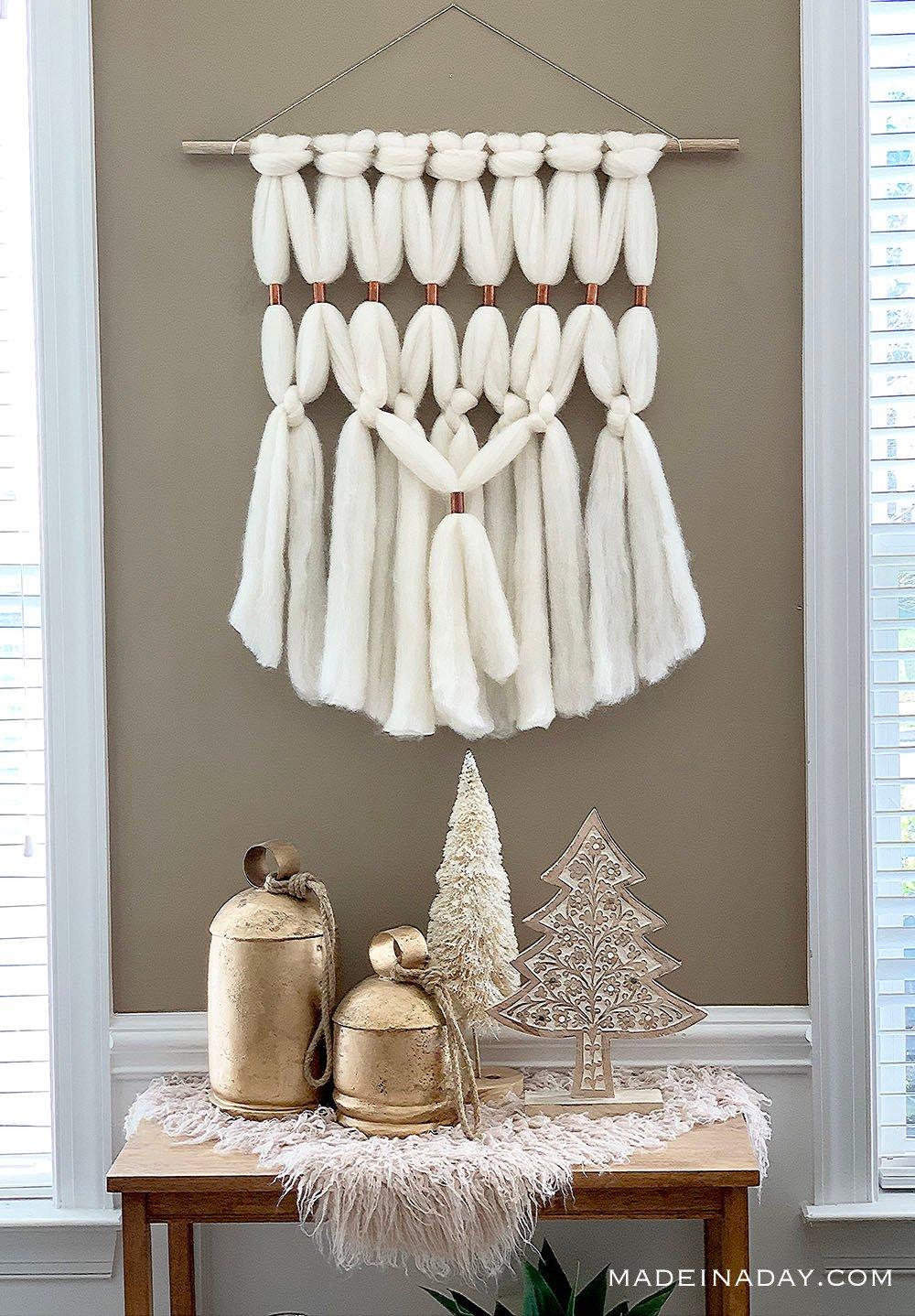 Cream Gold Blush Christmas Decor, Boho Fur Macrame Christmas,