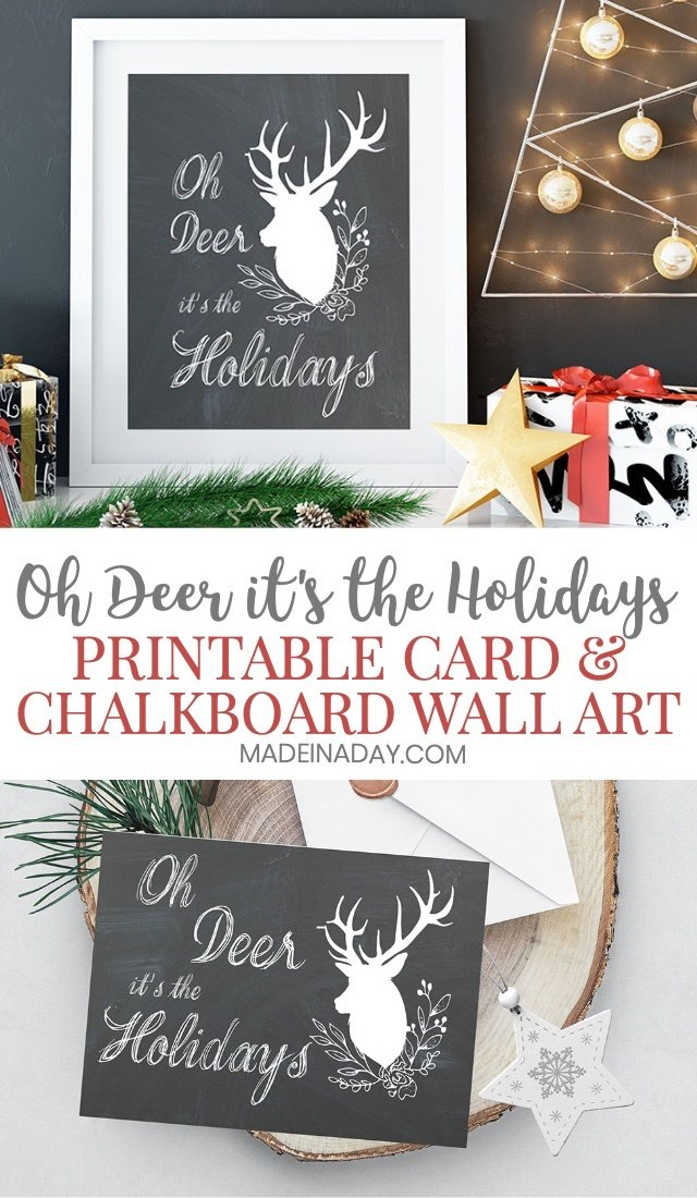 Oh Deer It's the Holidays Printable Card, oh deer Christmas card, ohh deer greeting card, foldable printable holiday cards, ohh deer wall art, holiday chalkboard wall art, oh deer wall art, deer wall hanging, printable deer art prints, ohh deer wall prints, holiday printable greeting card, deer print, oh deer print, deer poster, oh deer art, oh deer, deer wall art, oh deer, it's Christmas,