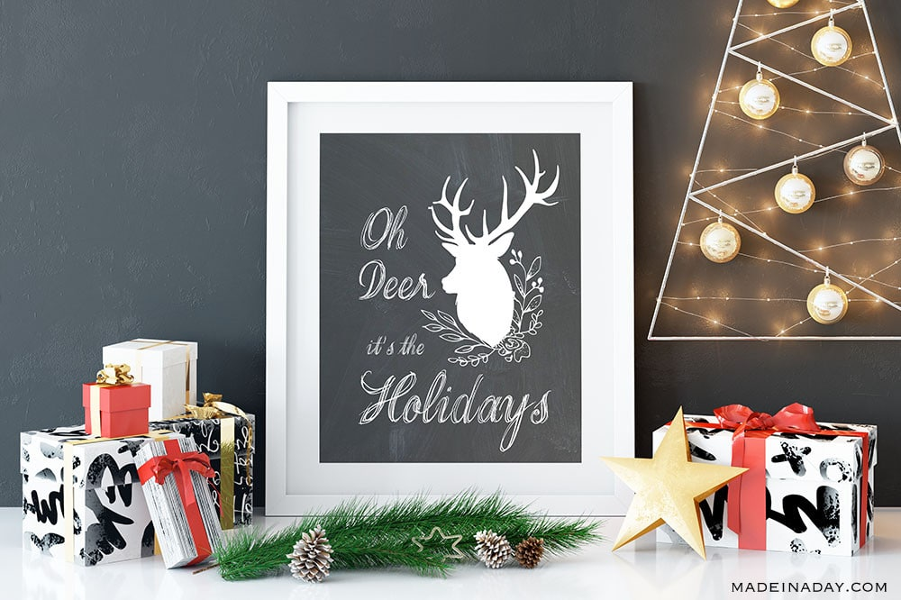 Oh Deer art Prints, printable oh deer Christmas cards