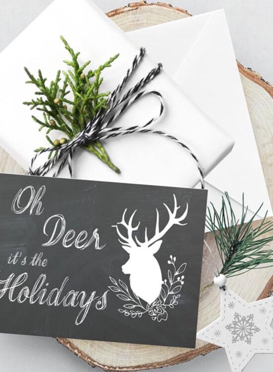 Adorable Oh Deer Christmas Card Printables 5