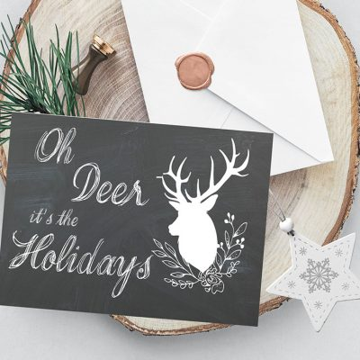 Oh Deer Christmas Card Printables