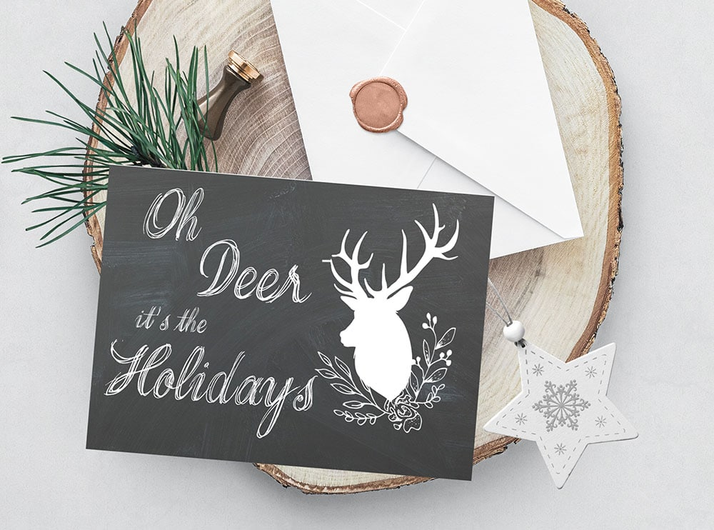 oh deer it's the holidays, oh deer foldable printable greeting card, deer card, oh deer it's Christmas
