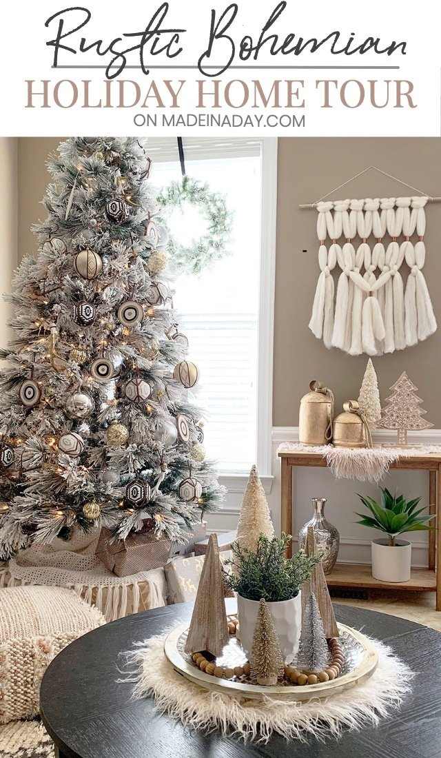 Rustic Bohemian #Holiday Home Tour, See my #Eclectic #Bohemian #Rustic #Christmas tree and all the elements that pull my holiday decor together! Bohemian Christmas, fur Christmas decor, macrame Christmas decor, neutral Christmas decorations, #neutral Christmas tree, #gold and #blush Christmas tree, #global Christmas tree, #modernboho Christmas, rustic bohemian, #Christmasdecor #Christmasdecorations #globalChristmas #rusticChristmas #farmhouse