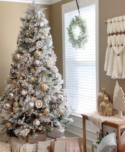 Snowy Eclectic Bohemian Style Christmas Tree 31