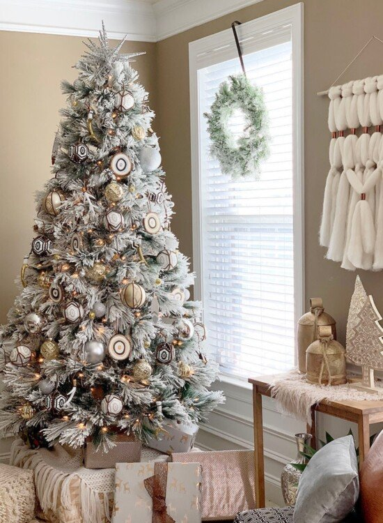 Snowy Eclectic Bohemian Style Christmas Tree 6
