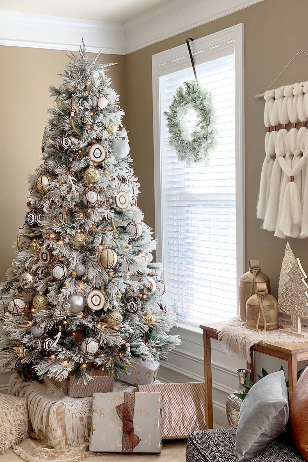 Snowy Eclectic Bohemian Style Christmas Tree