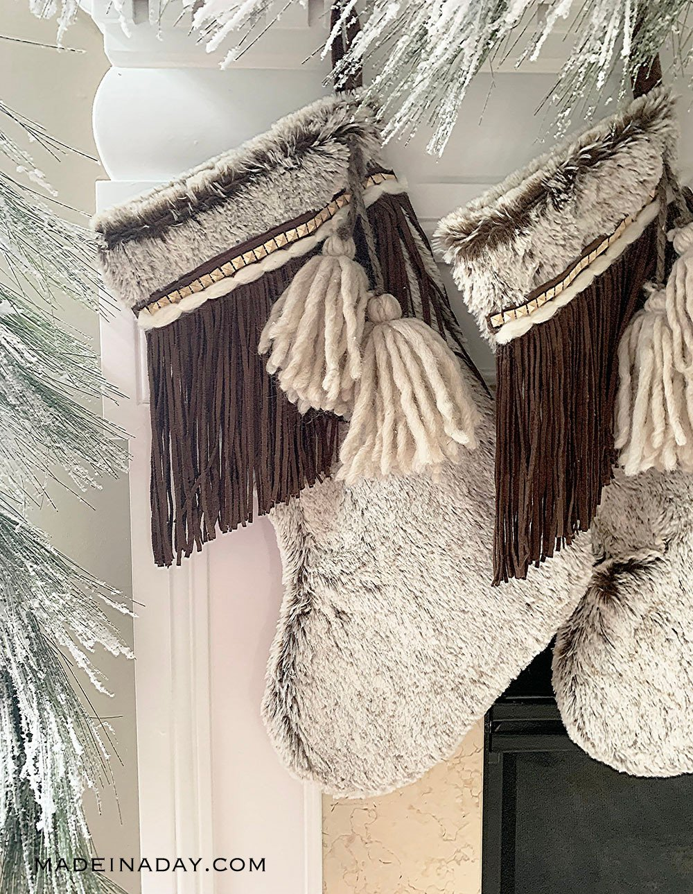 DIY Rustic Fringe + Tassel Boho Christmas Stockings, boho stocking, bohemian stocking, tassel stocking, fur stocking, fringe stocking