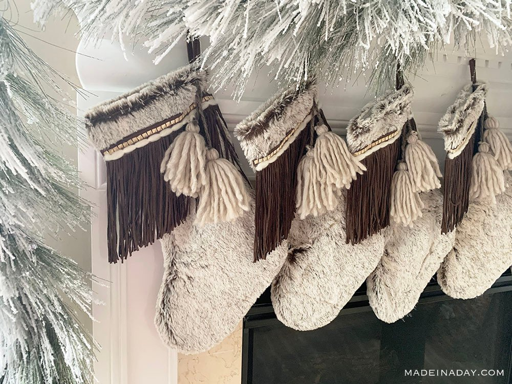 Brown Fringe Stockings, White Fur Stockings, Tassel Stockings, boho tassel pom stockings