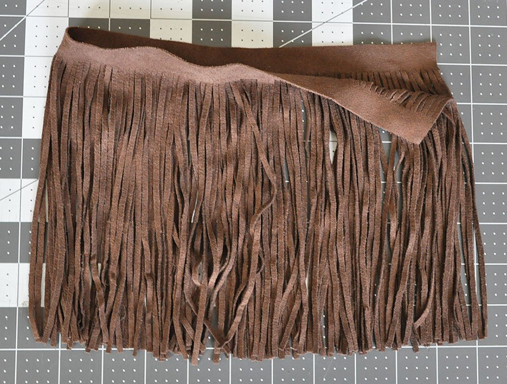 Brown long fringe, faux fringe, faux leather fringe