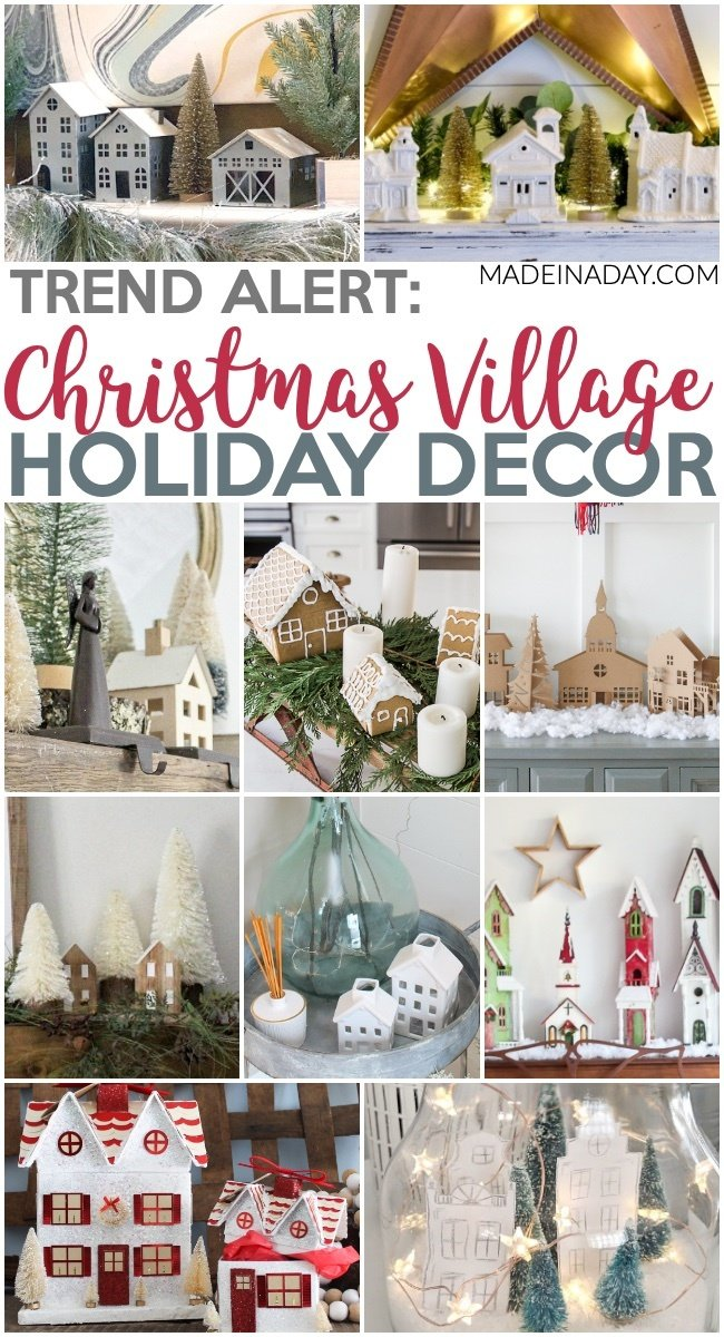 10 Christmas Village Holiday Decoration Ideas, gingerbread Christmas village, galvanized Christmas village, white Christmas village, Cardboard Christmas Village, minimal Christmas village, Christmas village in a jar, #christmasvillage #village #holidaydecor #Christmasdecor #Christmasmantle #holidayvignette #Galvanized #gingerbreadhouse