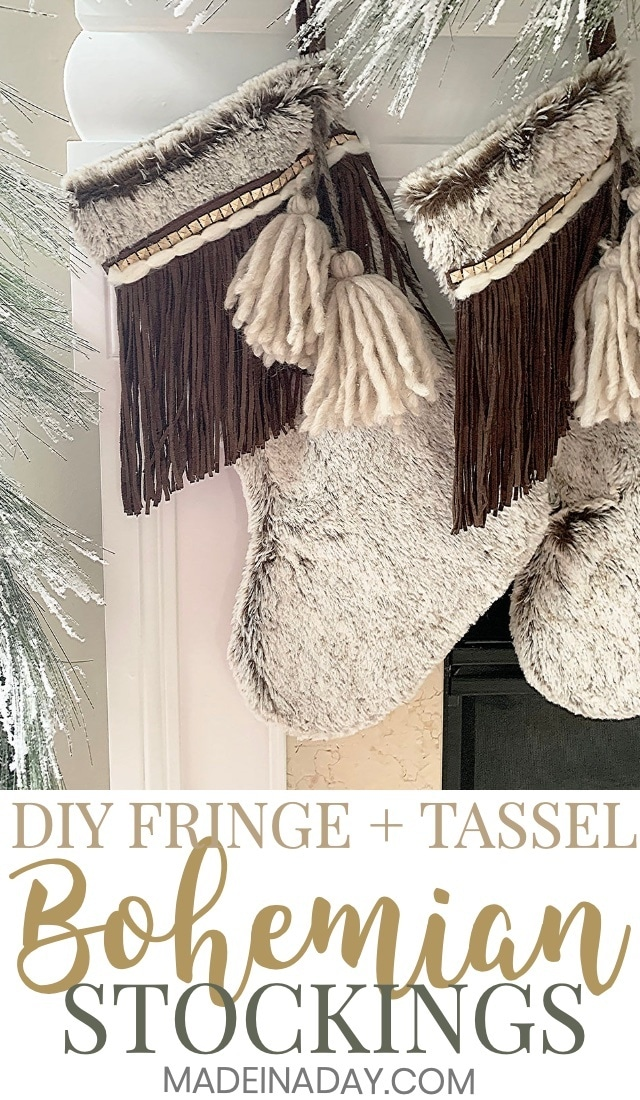 Super cute DIY #rustic #Fringe + #Tassel Boho Christmas Stockings, plush fur tassel Christmas stockings, #bohemian Christmas stockings, tassel stockings, fringe stockings, faux leather Christmas stockings, embellished stockings, #Moroccan Christmas Stockings, boho #stocking #bohoChristmas #boho #bohemian #fur #christmasstocking