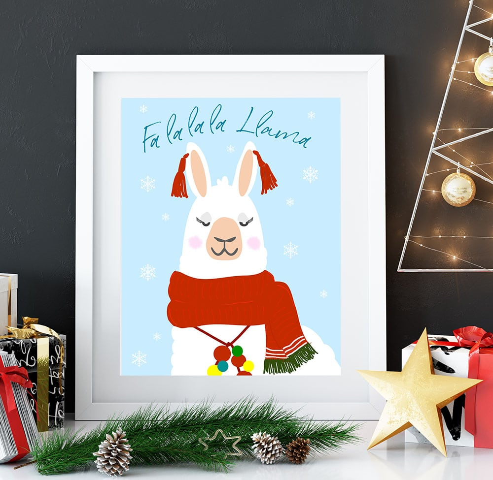 Alpaca Holiday Wall Art, Fa la la la Llama Wall Art printables, Christmas llama printables, holiday llama art prints, alpaca wall hanging