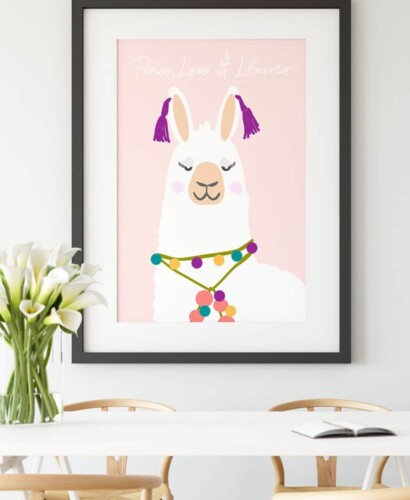 Peace Love and Llama Printable Wall Art 31