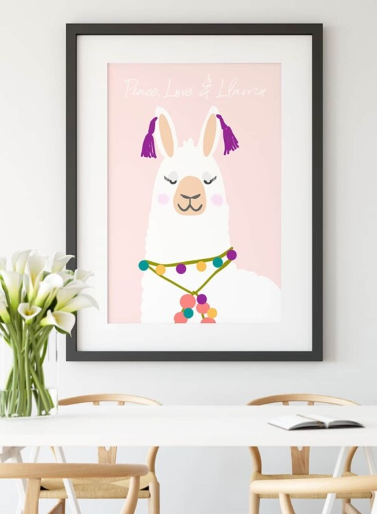 Peace Love and Llama Printable Wall Art 8
