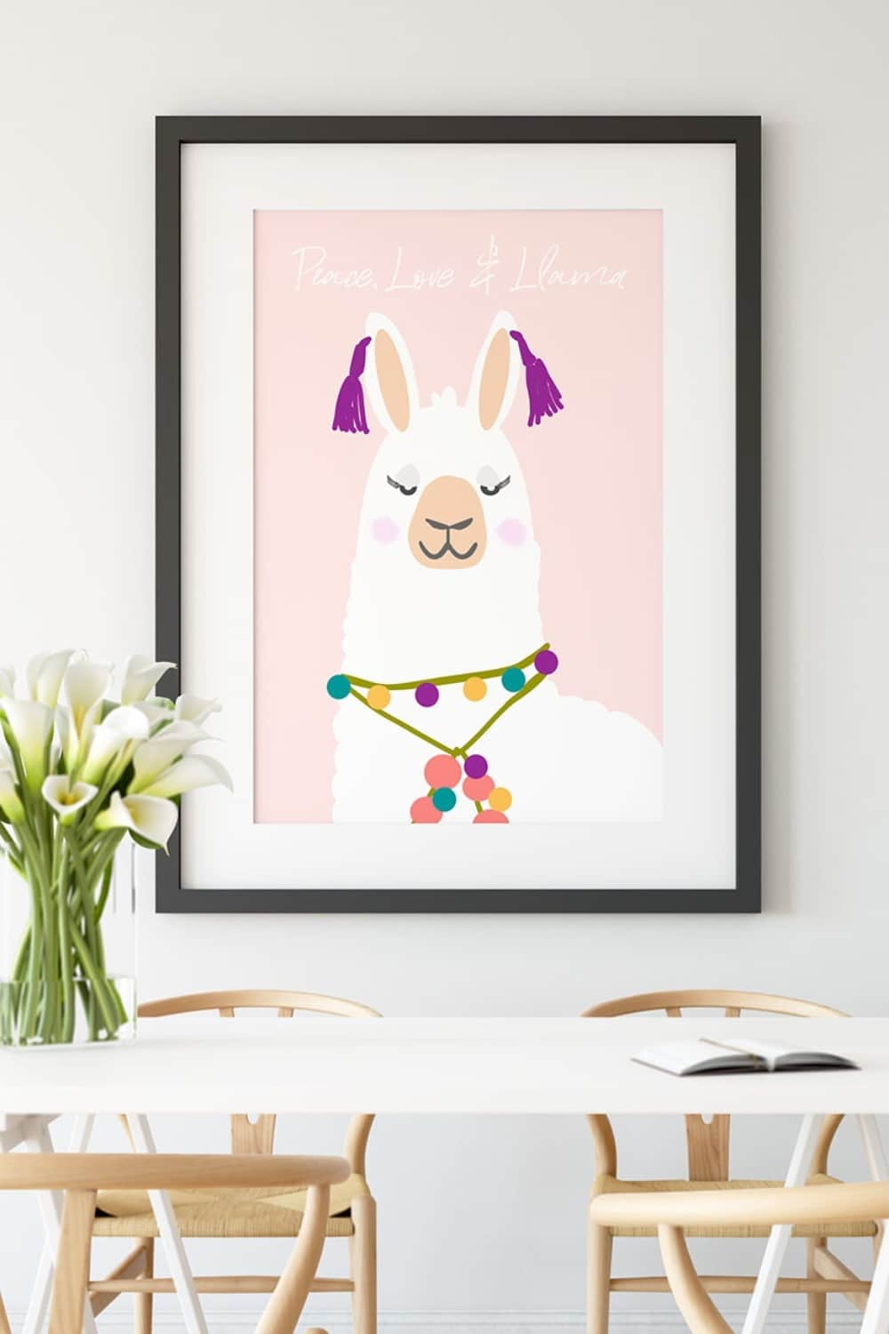 Peace Love and Llama Printable Wall Art